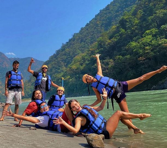 Shakti Mohan and Mukti Mohan after Rafting In Rishikesh With Salvus Hotels, Resorts And Camps