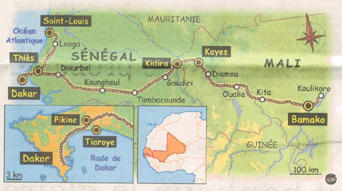 Carte du trajet de la ligne ferroviaire Dakar-Bamako