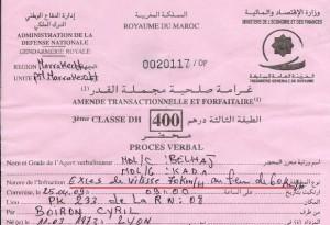 Un PV pour excès de vitesse sur la route d'Essaouira...