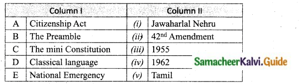 Samacheer Kalvi 10th Social Science Guide Civics Chapter 1 Indian Constitution 1