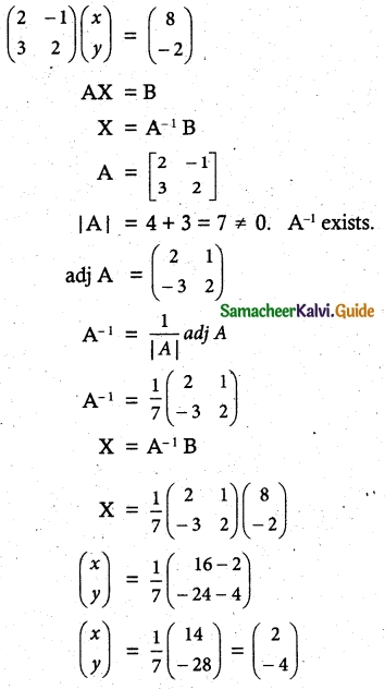 Samacheer Kalvi 12th Maths Guide Chapter 1 Applications of Matrices and Determinants Ex 1.3 2
