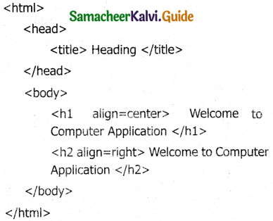 Samacheer Kalvi 11th Computer Applications Guide Chapter 10 HTML – Structural Tags 8