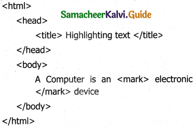Samacheer Kalvi 11th Computer Applications Guide Chapter 11 HTML – Formatting Text, Creating Tables, List and Links 2