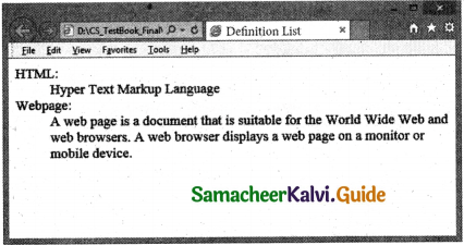 Samacheer Kalvi 11th Computer Applications Guide Chapter 11 HTML – Formatting Text, Creating Tables, List and Links 28