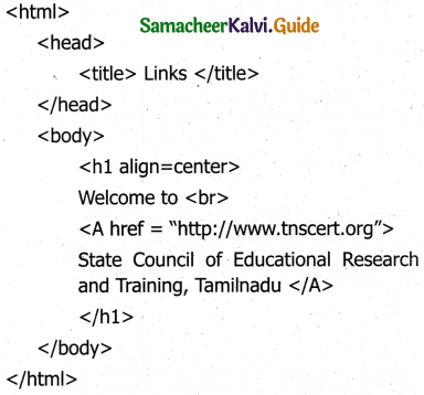 Samacheer Kalvi 11th Computer Applications Guide Chapter 11 HTML – Formatting Text, Creating Tables, List and Links 30