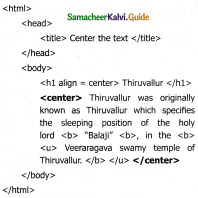 Samacheer Kalvi 11th Computer Applications Guide Chapter 11 HTML – Formatting Text, Creating Tables, List and Links 34