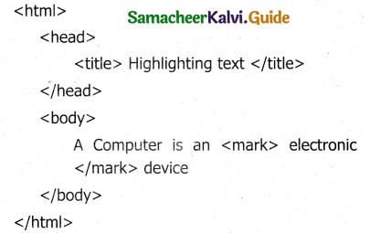 Samacheer Kalvi 11th Computer Applications Guide Chapter 11 HTML – Formatting Text, Creating Tables, List and Links 39