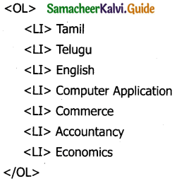 Samacheer Kalvi 11th Computer Applications Guide Chapter 11 HTML – Formatting Text, Creating Tables, List and Links 4