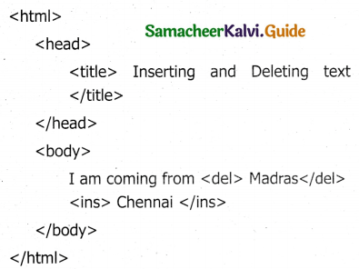 Samacheer Kalvi 11th Computer Applications Guide Chapter 11 HTML – Formatting Text, Creating Tables, List and Links 41
