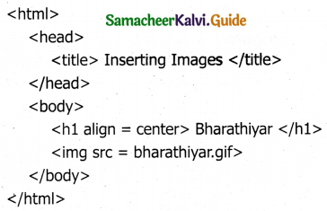 Samacheer Kalvi 11th Computer Applications Guide Chapter 12 HTML – Adding Multimedia Elements and Forms 5
