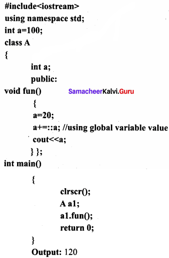 Samacheer Kalvi 11th Computer Science Solutions Chapter 14 Classes and Objects 10
