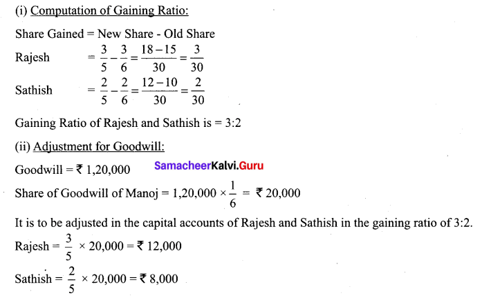 Samacheer Kalvi 12th Accountancy Solutions Chapter 6 Retirement and Death of a Partner 52