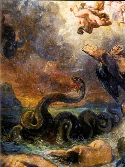 Apolo combatiendo con la serpiente pitón. Eugene Delacroix. 1850-1851