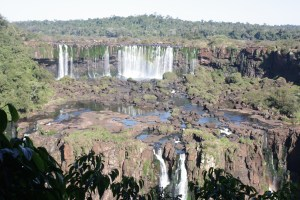 Panoramic view of the cataracts from the Brazilian side of the falls, Foz do Iguacu, Brazil