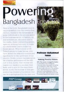 "Magazine scan of ""Powering Bangladesh Forward"" cover story"