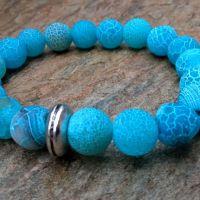 Bransoletka agat trawiony w odcieniu blue