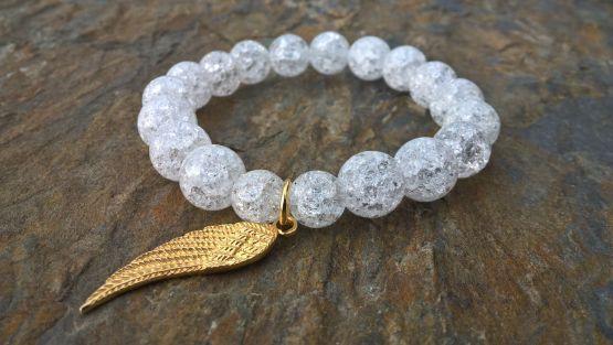 Bransoletka z kryształu lodowego ze srebrnym skrzydełkiem