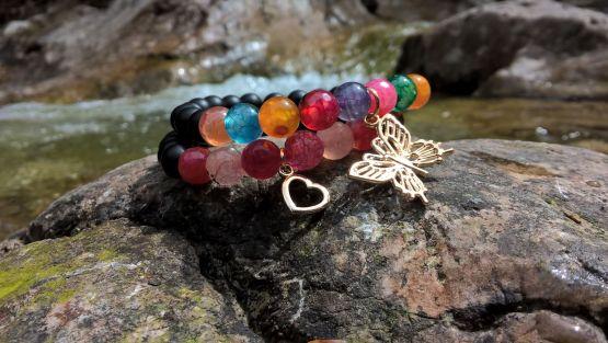 Lawa prasowana i multicolor agatow