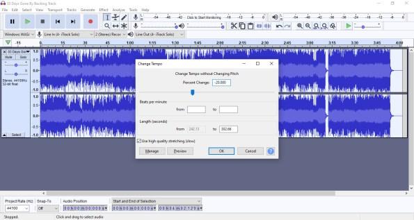 Change music speed using audacity
