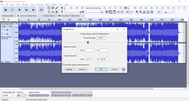 Change music speed using audacity