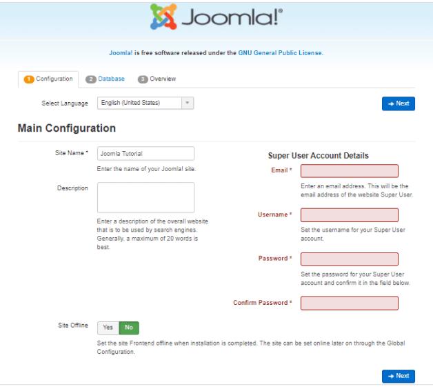 install joomla website manually - installation steps