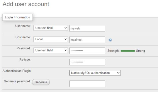 login information for creating database in WampServer using phpMyAdmin