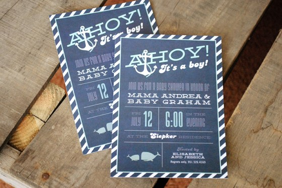 Ahoy Its A Boy Nautical Baby Shower Invitation blue and aqua 64