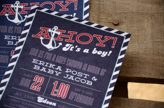 Ahoy Its A Boy Nautical Baby Shower Invitation blue and red 91
