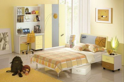 Bright-Yellow-Themes-and-Small-Study-Table-Furniture-in-Kids-Bedroom-Sets-Decorating-Designs-Ideas