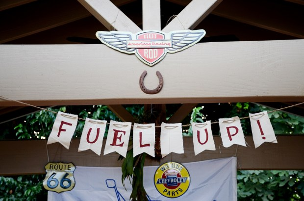 car themed shower party Fuel Up banner