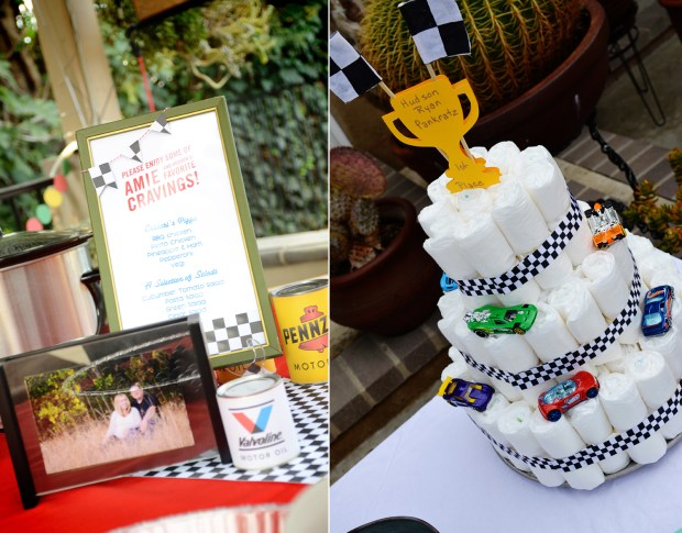 car themed shower party menu and diaper cake