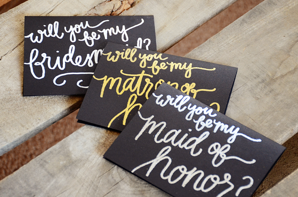 Bridesmaid Bridal Party Invitations by Your New Friend Sam - Black Cardstock with Embossing Options 2