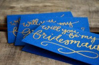 Bridesmaid Bridal Party Invitations by Your New Friend Sam - Navy Blue Cardstock with Gold Glitter Embossing Mens Cards Close Up