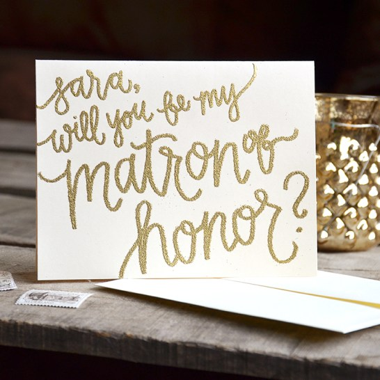 Bridesmaid Bridal Party Invitations Personalized Cards by Your New Friend Sam - Cream Cardstock with Gold Glitter Embossing