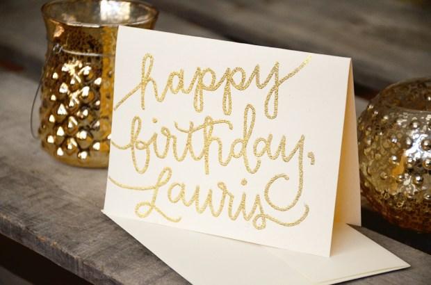 Your New Friend Sam Custom Hand Lettered Glitter Birthday Card