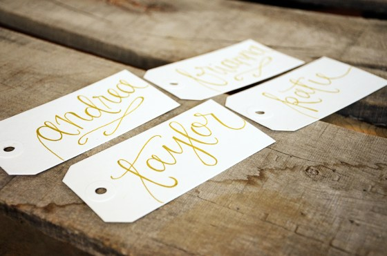 Your New Friend Sam, Handwritten Calligraphy Name Tags, White with Gold