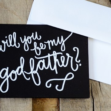 Godfather Invitations by Your New Friend Sam - Black Cardstock with Personalized White Embossing