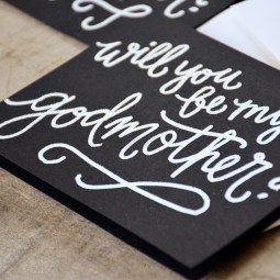 Godmother Invitations by Your New Friend Sam - Black Cardstock with White Embossing