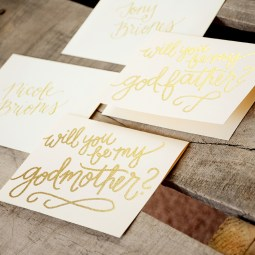 Godmother Invitations by Your New Friend Sam - Cream Cardstock with Gold Glitter Embossing and Personalized Envelopes
