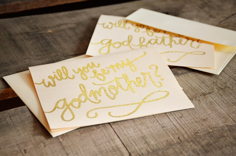 Godmother Invitations by Your New Friend Sam - Cream Cardstock with Gold Glitter Embossing Detail