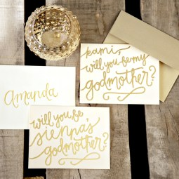 Godmother Invitations by Your New Friend Sam - Cream Cardstock with Gold Glitter Embossing Upgrades