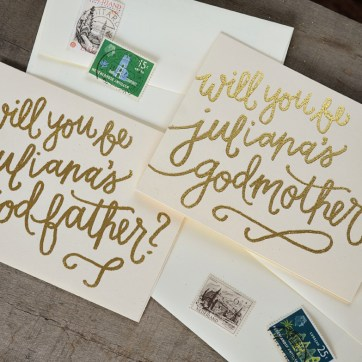 Godmother Invitations by Your New Friend Sam - Cream Cardstock with Personalized Gold Glitter Embossing 2