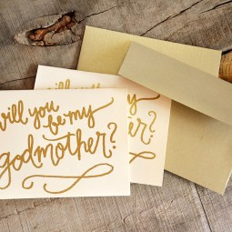 Godmother Invitations by Your New Friend Sam - Crream Cardstock with Gold Glitter Embossing and Gold Envelopes