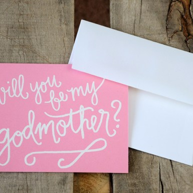 Godmother Invitations by Your New Friend Sam - Pink Cardstock with White Embossing