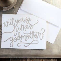 Godmother Invitations by Your New Friend Sam - White Cardstock with Personalized Silver Embossing
