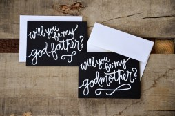 Godparent Invitations by Your New Friend Sam - Black Cardstock with White Embossing