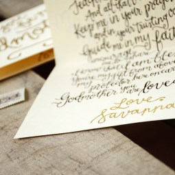 Godparent Invitations by Your New Friend Sam - Cream Cardstock with Personalized Gold Glitter Embossing Signature and Printed Poem Detail