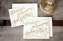 Thank You For Being My Godmother Godfather by Your New Friend Sam - Cream Cardstock with Gold Embossing