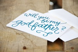 Will You Be My Godfather by Your New Friend Sam - White Cardstock with Metallic Blue Embossing