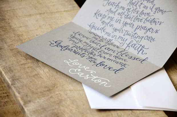 Will You Be My Godparents Personalized navy Poem and White Signature by Your New Friend Sam - Gray Cardstock with White Embossing